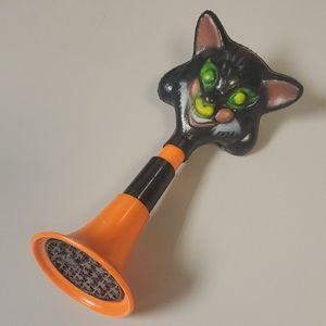 Vintage Halloween Black Cat Horn Noisemaker